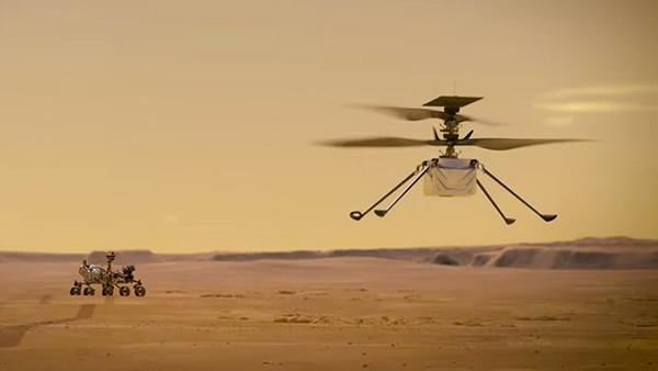 Марсоход снабжен миниатюрным автоматическим вертолетом для разведки местности